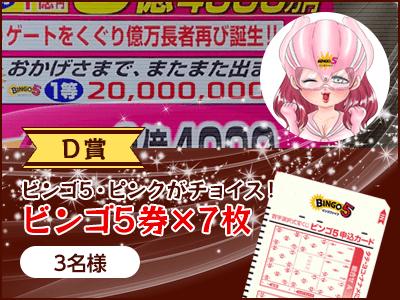 【D賞】ビンゴ5・ピンクがチョイス!ビンゴ5券×7枚(3名様)
