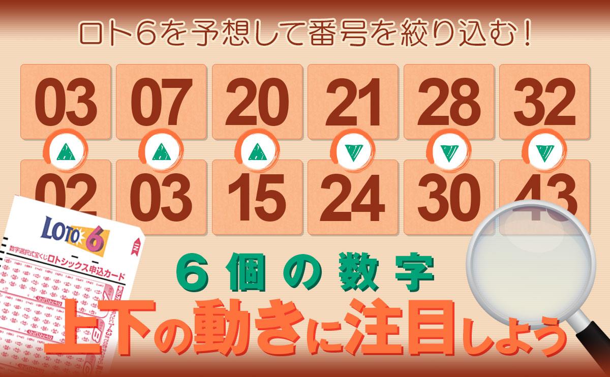 ロト6を予想して番号を絞り込む!ロト6の6個の数字の上下の動きに注目しよう